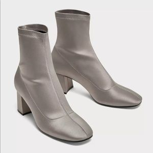 ZARA Silver Gray Satin Ankle Boots sz 42 6072/201